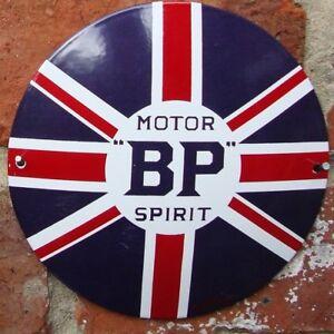 BP ENAMEL SIGN garage petrol oil porcelain round VAC171