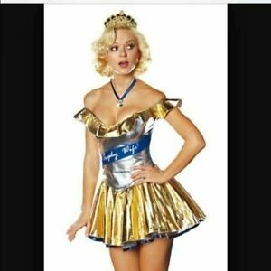 Dreamgirl USA 4450 Trophy Wife Costume Gold Dress Cosplay All Sizes NEW