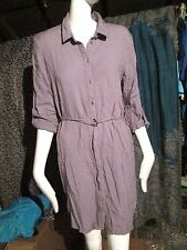ATMOSPHERE - GREY,BUTTON FRONT ROLL SLEEVE Mini Dress SIZE 14