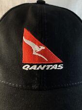 QANTAS FLYING KANGAROO PROMO BLACK COTTON BASEBALL CAP HAT AUSTRALIAN AIRLINES