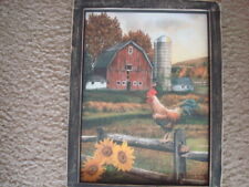 """Primitive Country Print *BARN with ROOSTER*  black frame 9"""" x 12"""" FREE SHIPPING!"""