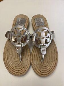 Tory Burch Miller Espadrille Silver Metallic Jute Rope Sole Sandals Size 7