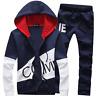 Black  Men Sweater Casual Tracksuit Sport Suit Jogging Athletic Jacket+Pants