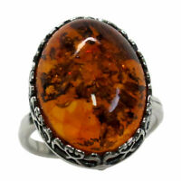 ADORABLE HUGE NATURAL BALTIC AMBER 925 STERLING SILVER RING SIZE 5-10