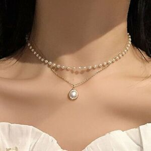 Fashion Double Layer Pearl Choker Pendant Necklace Clavicle Chain Women Gift Hot