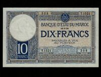 Morocco:P-17a,10 Francs,1931 * French Rule * VF  *