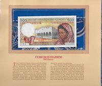Most Treasured Banknotes Comoros 1976 500 Francs P-7a UNC Serie Y.1 002331310