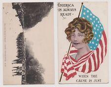 World War I 2 Vintage Patriotic Postcards 1918-1919 Mailed w 2 Cent War Rate  |