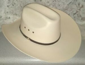 New Nice Stetson 10X Natural Woven Straw Vented Cowboy Hat Leather Band ~ SZ 7.5