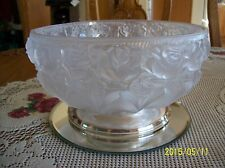 Crystal Rose Frosted Bowl 24% Lead W Germany William Adams Silver plate Italy