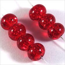 30 perles craquelées Rondelles en verre 8 x 5 mm Rouge
