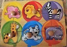 "Toddler Wooden Puzzle ""Animals"" 6 piece Easy Grip Pictures Under Pieces *EUC*"