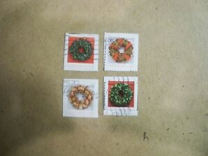 USA Used, 2019 Christmas Issue, Holiday Wreaths, (Set of 4)