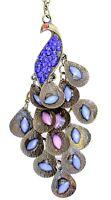 Vintage Art Deco bronzo e cristallo collana con pavone