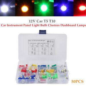 50PCS 12V Car Truck T5 10 Instrument Panel Light Bulb Clusters Dashboard Lamps