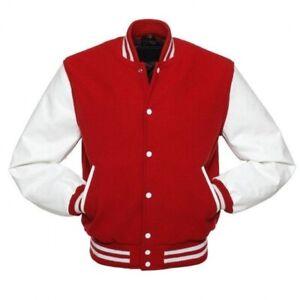 Plain custom men varsity jackets baseball jacket With Leather Sleeves