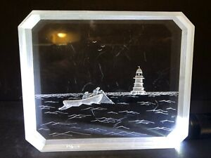 UNIQUE ARTIST SIGNED RONALD FOX 1976 ACRYLIC ART LUCITE BLOCK SEASCAPE NAUTICAL!