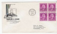 HARLAN F. STONE #965 BLOCK US FIRST DAY COVER 1948 FARNAM CACHET FDC