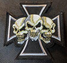 Iron Cross with Skulls Skulls on Iron Cross Embroidered Biker Patch