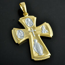 Mens Womens Cross Pendant 2-Tone 9K Solid Gold Filled Virgin Mary Pendants