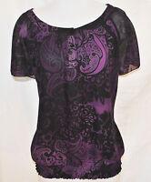 VTG 90s BoHo Hippie CHIC Sheer Purple Paisley On Off Shoulder Shirt Blouse Top M