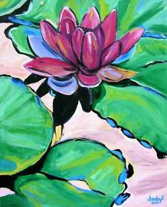 Red Lily Original Art PAINTING DAN BYL Impressionist Modern Contemporary 4x5 ft