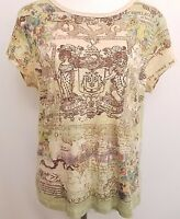Susan Lawrence Blouse Shirt Top Women's Large L Beige Graphic Print Short Sleeve