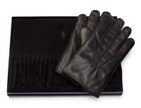 $248 Polo Ralph Lauren Black Leather Gloves Pony Cashmere Scarf Gift Box Set M