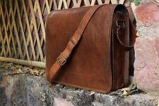 """15"""" New Men's Handmade Real Vintage Brown Leather Messenger Satchel Shoulder Bag"""