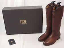 NEW $348 Frye Melissa Button 2 Wide Calf Leather Tall Riding Boots 6.5 Cognac