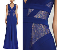 NWT BCBG MAXAZRIA Reese Lace-Insert Satin Gown Dress Royal Blue Size 2