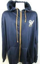Milwaukee Brewers Mens 3XT or 4XT Screened Full Zip Hooded Sweatshirt MBW 24