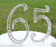 """5"""" Crystal Rhinestone Number 65 Silver Cake Topper Top 65th Birthday Party"""
