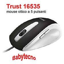 TRUST MOUSE OTTICO a 5 pulsanti Usb Black Silver 16535 EasyClick ALTA PRECISIONE