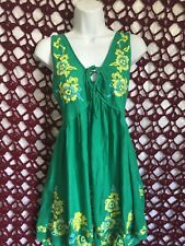NWT Intimately Free People Embroidered Aida Green V Neck Slip Tunic Dress Medium