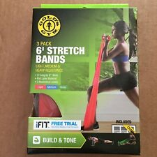 Pack Of 3 Gold's Gym 6' Stretch Band With Chart