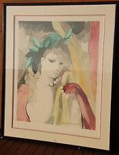 Marie LAURENCIN Lithographie lithograph signée numér encadrée femme au collier .