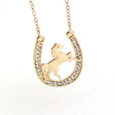 "Golden 1-3/8"" x 1"" Rhinestone Horseshoe w/ Horse Pendant Necklace 16"" Chain #31"