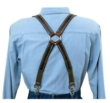 White Stitch Distressed Dark Brown Leather Suspenders Silver Ring X Back snap