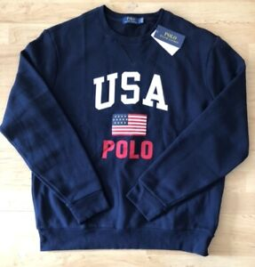 Polo Ralph Lauren Men's Large Americana Crew Sweatshirt Navy Blue USA NWT