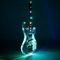 5 Strings Electric Bass Guitar Colorful Led Light Flash Style Acrylic Crystal