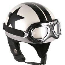 [ Black Star ]  Goggle Helmets Vintage Half Face Scooter Motorcycle Motorbike