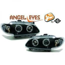 LHD Projector Headlights Pair Angel Eyes Clear Black H1 h1 For Renault Megane