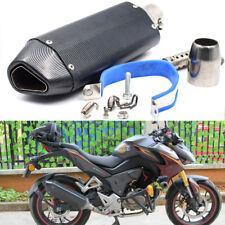 Universal 38-51mm Black Carbon Fiber Exhaust Muffler Pipe Bike Motorcycle Superb