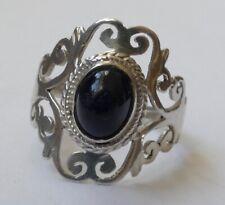 Ring Onyx Cabochon filigrane Arbeit Silber rhodiniert Vintage 60er ring silver