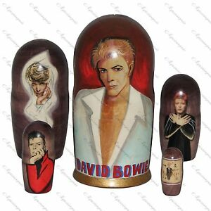 David Bowie doll Art set Handmade nesting russian doll 5 pieces 7 inches