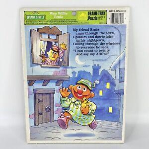 Vintage 1989 Sesame Street Wee Willie Ernie Frame-Tray Puzzle Golden Bert Ernie