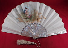 Victorian Antique Hand Painted Silk Jolivet Artist Signed Mother of Pearl Fan