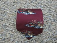 Vintage Ducks Unlimited Duck Print Mens Neck Tie Red 100% Silk USA Made