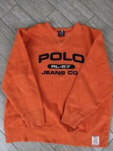 vintage POLO JEANS COMPANY orange sweatshirt XL ralph lauren 1990s spellout